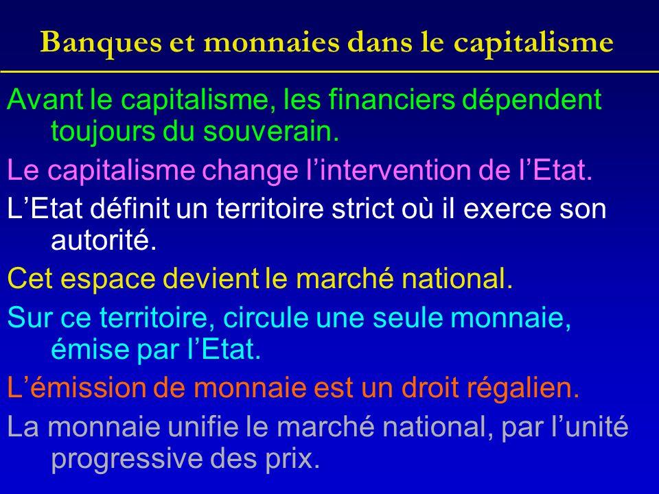 Banques et monnaies dans le capitalisme Avant le capitalisme, les financiers dépendent toujours du souverain.
