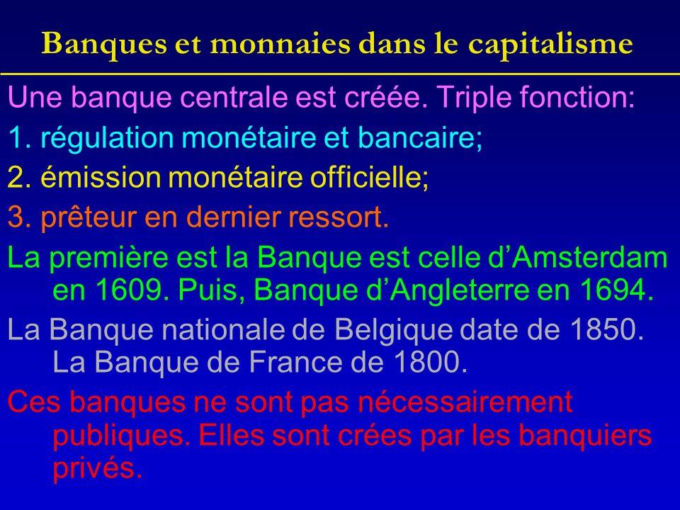Banques et monnaies dans le capitalisme Une banque centrale est créée.