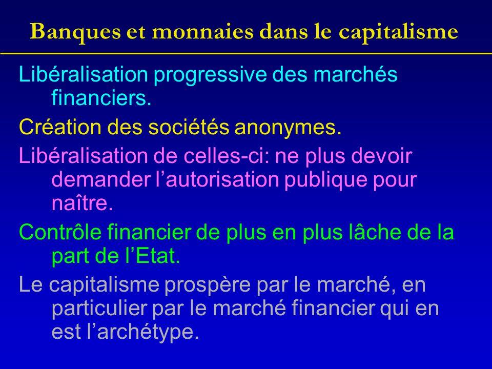 Banques et monnaies dans le capitalisme Libéralisation progressive des marchés financiers.