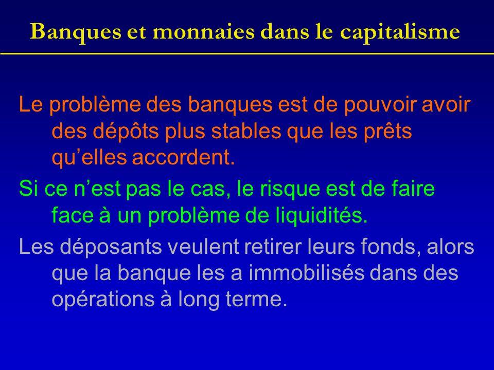 Banques et monnaies dans le capitalisme Le problème des banques est de pouvoir avoir des dépôts plus stables que les prêts quelles accordent.