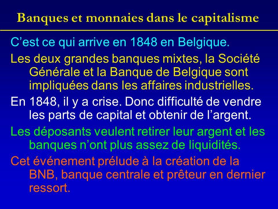 Banques et monnaies dans le capitalisme Cest ce qui arrive en 1848 en Belgique.