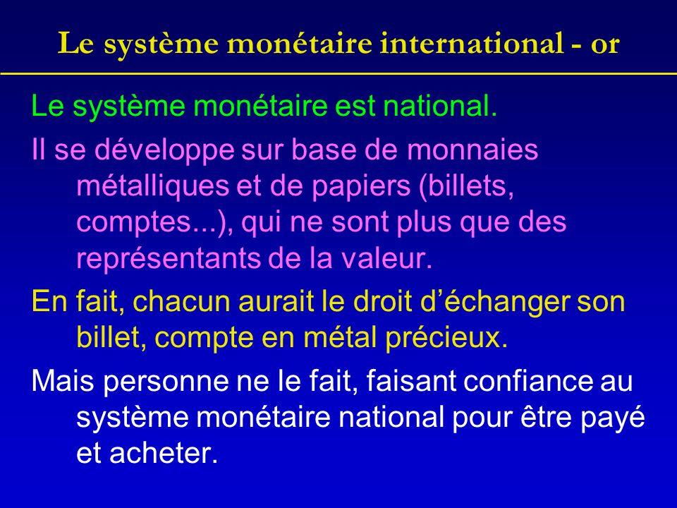 Le système monétaire international - or Le système monétaire est national.
