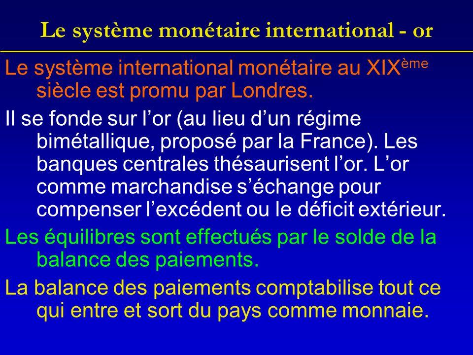 Le système monétaire international - or Le système international monétaire au XIX ème siècle est promu par Londres.