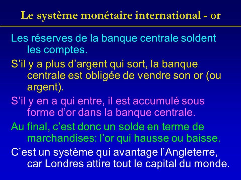 Le système monétaire international - or Les réserves de la banque centrale soldent les comptes.