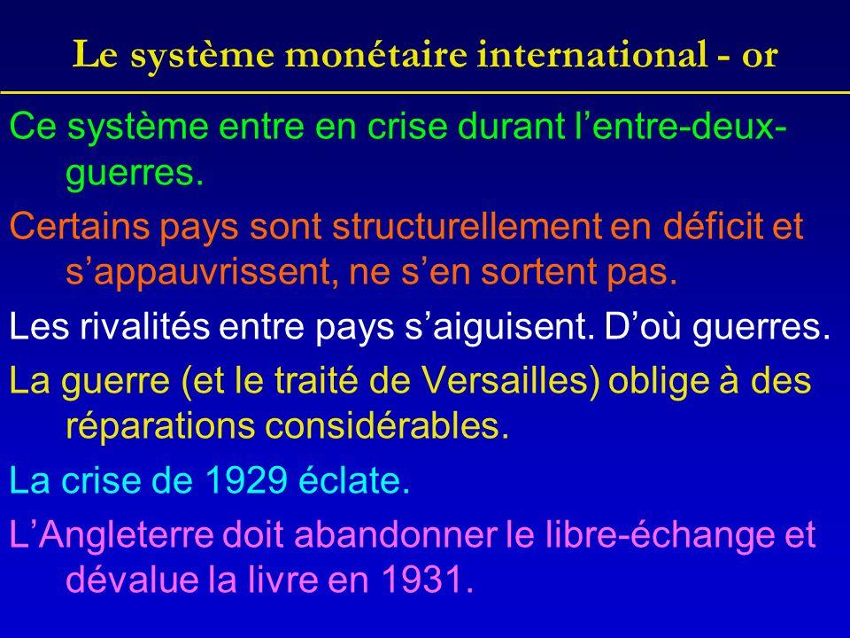 Le système monétaire international - or Ce système entre en crise durant lentre-deux- guerres.