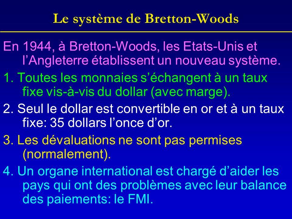 Le système de Bretton-Woods En 1944, à Bretton-Woods, les Etats-Unis et lAngleterre établissent un nouveau système.