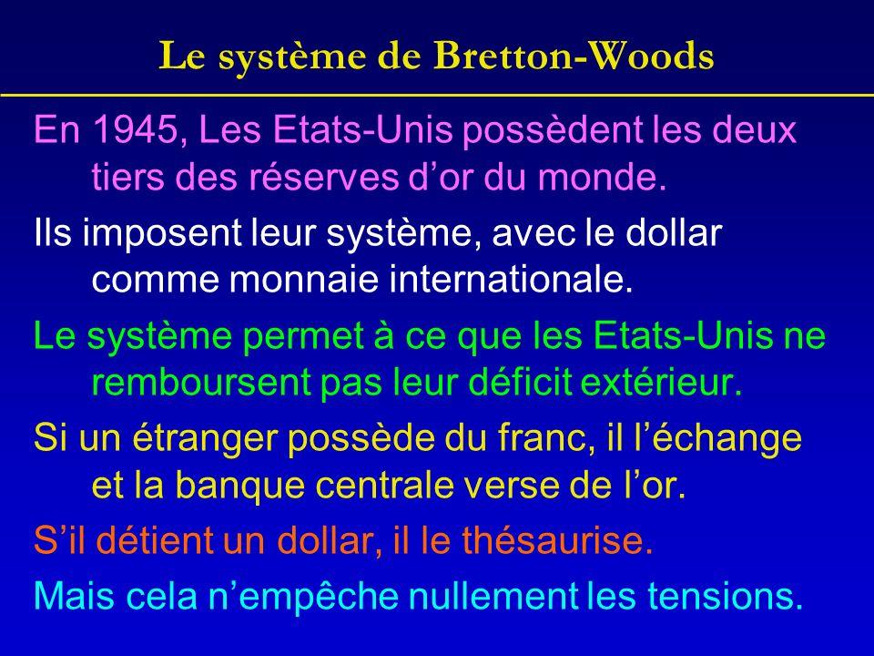 Le système de Bretton-Woods En 1945, Les Etats-Unis possèdent les deux tiers des réserves dor du monde.