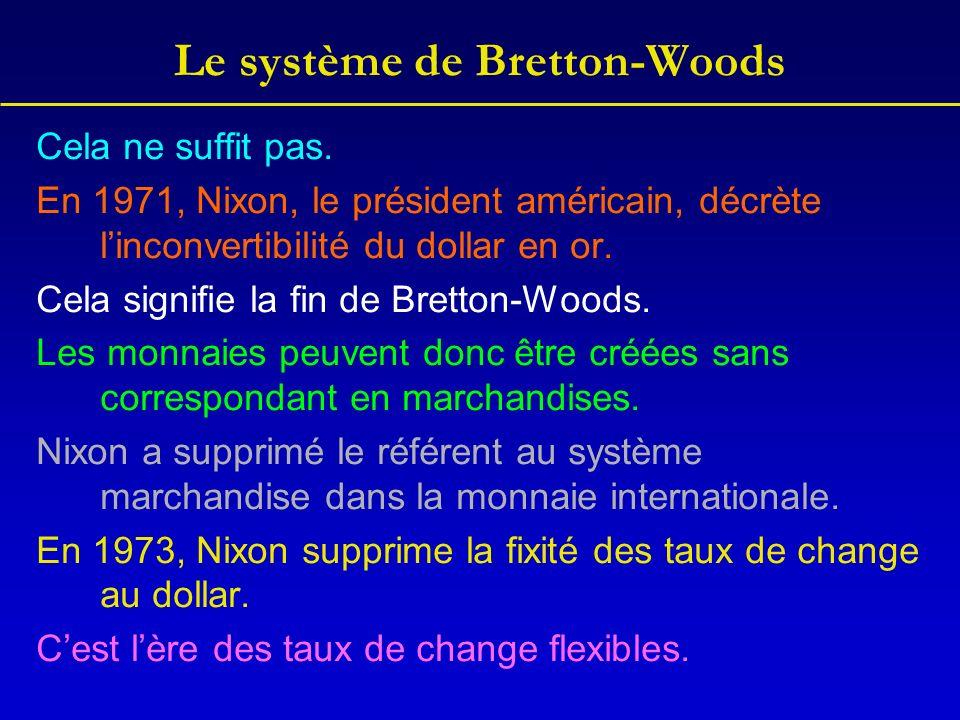Le système de Bretton-Woods Cela ne suffit pas.