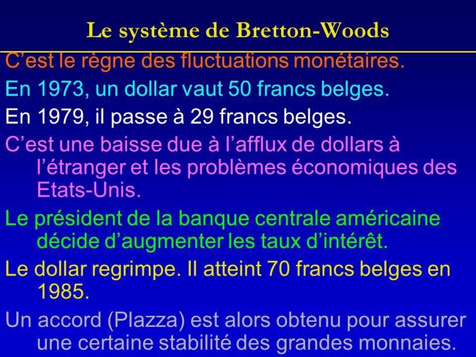 Le système de Bretton-Woods Cest le règne des fluctuations monétaires.