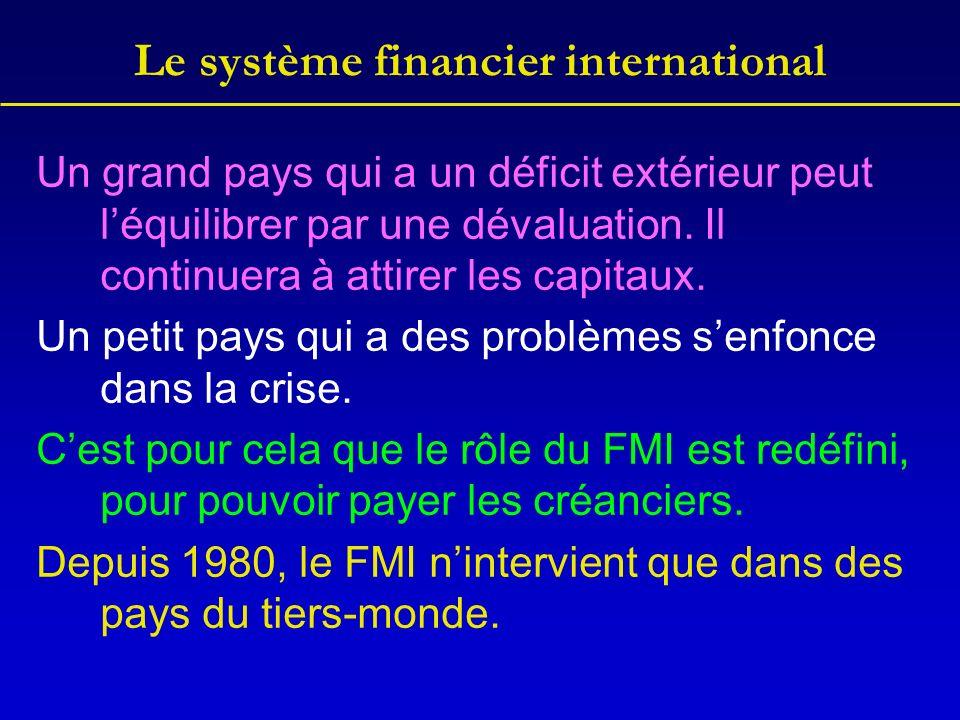 Le système financier international Un grand pays qui a un déficit extérieur peut léquilibrer par une dévaluation.