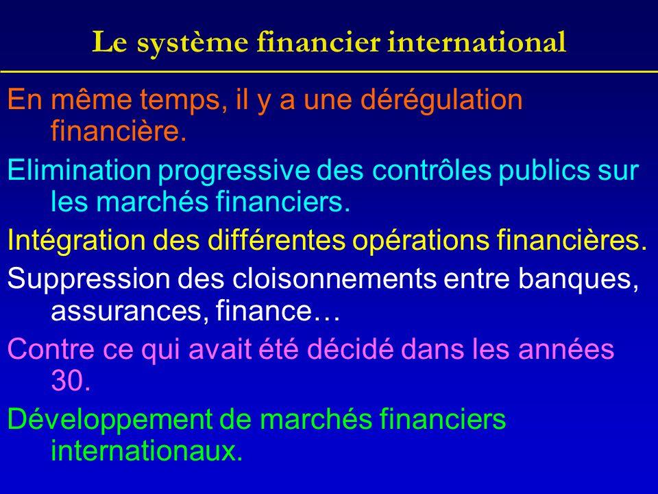 Le système financier international En même temps, il y a une dérégulation financière.