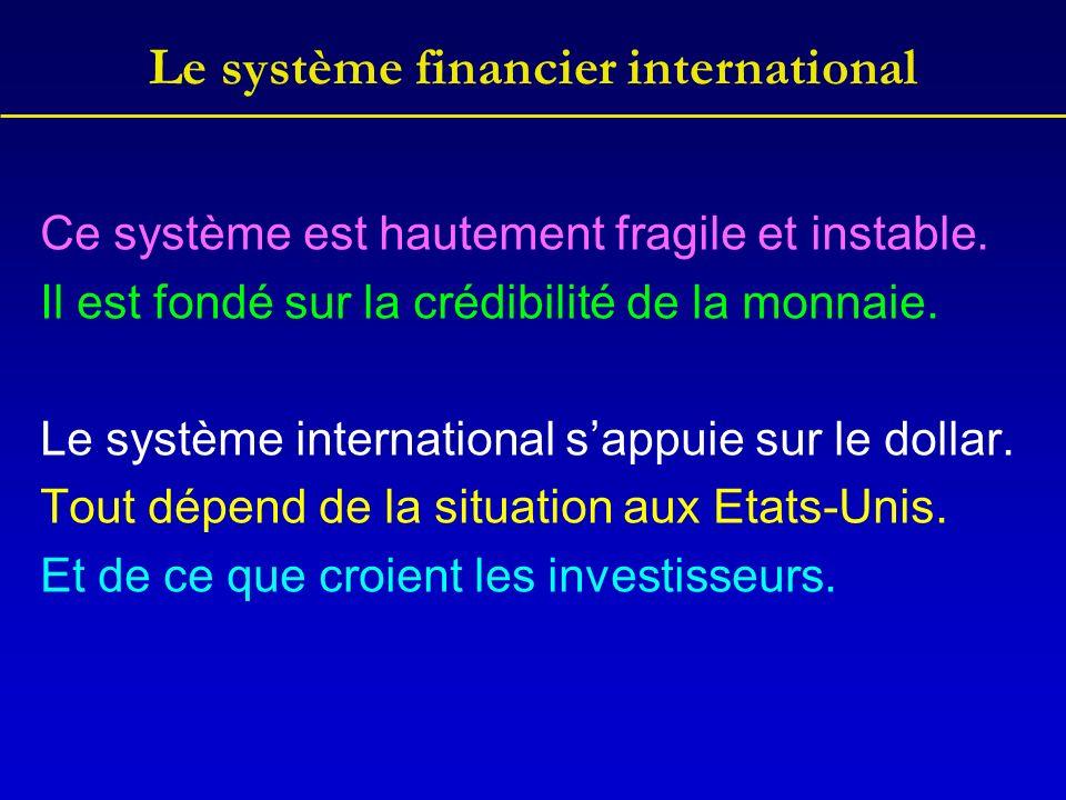 Le système financier international Ce système est hautement fragile et instable.