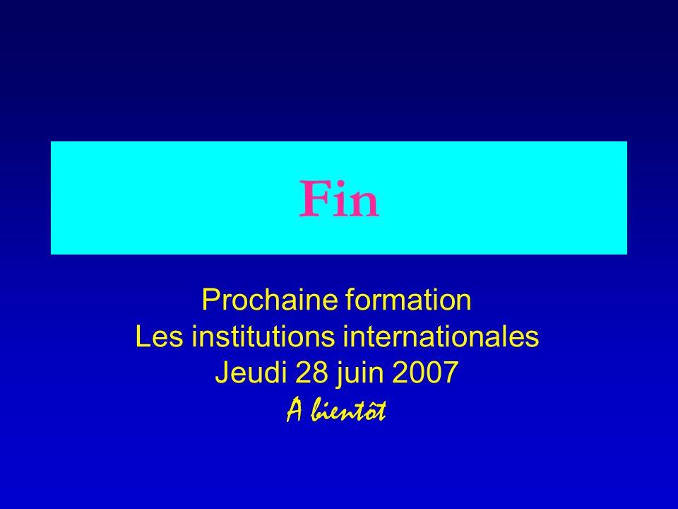 Fin Prochaine formation Les institutions internationales Jeudi 28 juin 2007 A bientôt