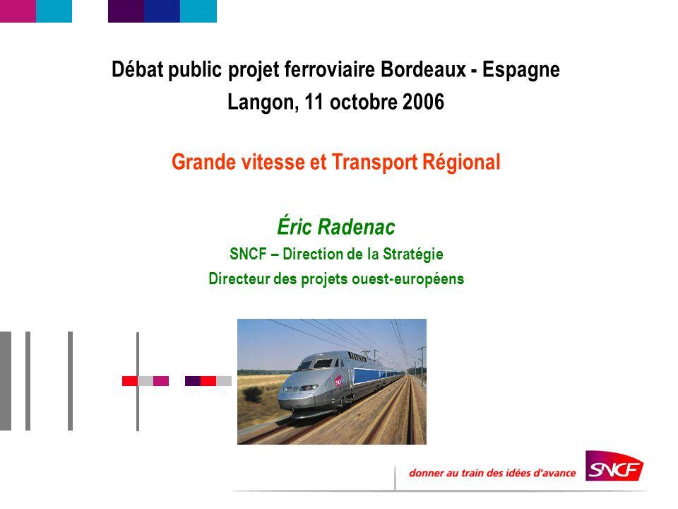 Débat public projet ferroviaire Bordeaux - Espagne Langon, 11 octobre 2006 Grande vitesse et Transport Régional Éric Radenac SNCF – Direction de la St