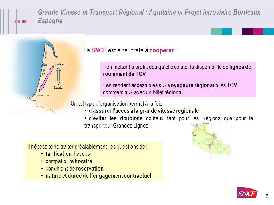 9 Bordeaux Landes Côte basque Grande Vitesse et Transport Régional : Aquitaine et Projet ferroviaire Bordeaux Espagne La SNCF est ainsi prête à coopér