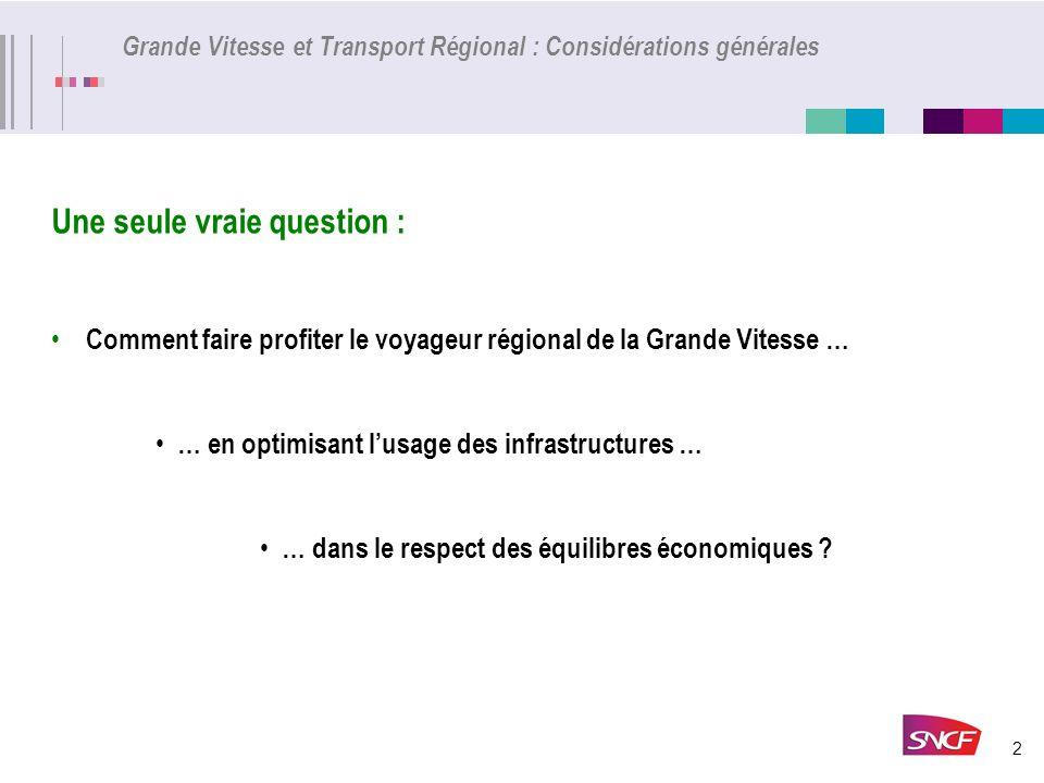 2 Grande Vitesse et Transport Régional : Considérations générales Une seule vraie question : Comment faire profiter le voyageur régional de la Grande