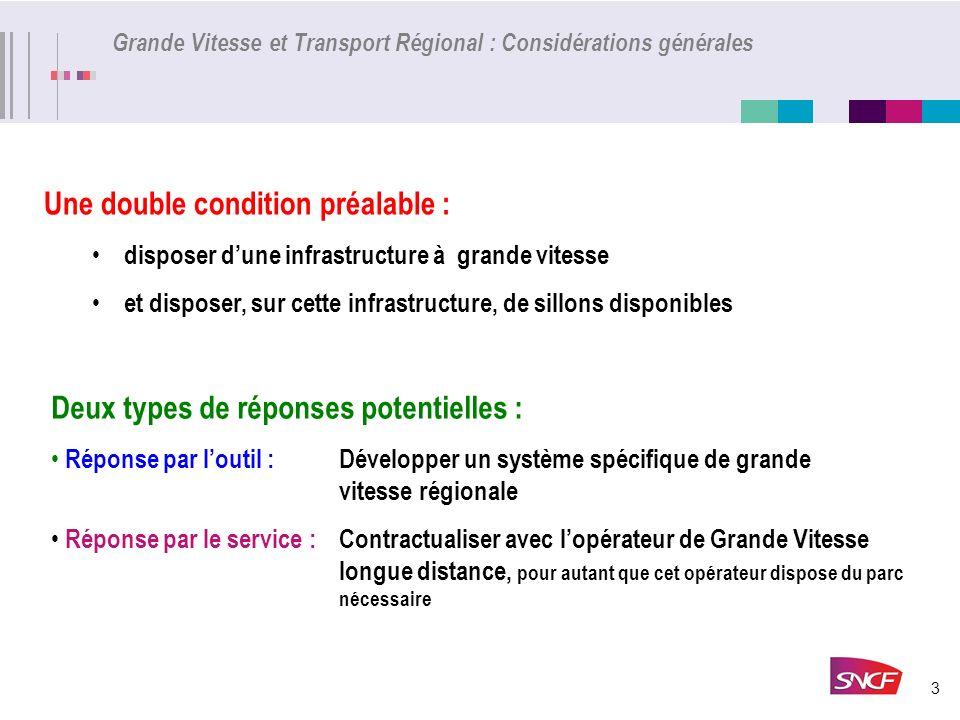 3 Grande Vitesse et Transport Régional : Considérations générales Deux types de réponses potentielles : Réponse par loutil : Développer un système spé