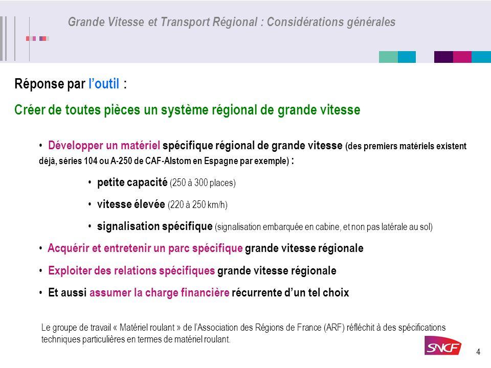 4 Grande Vitesse et Transport Régional : Considérations générales Réponse par loutil : Créer de toutes pièces un système régional de grande vitesse Dé
