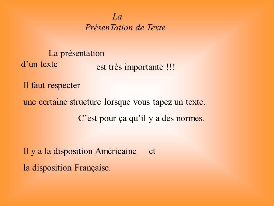 La PrésenTation de Texte La présentation dun texte est très importante !!! Il faut respecter une certaine structure lorsque vous tapez un texte. Cest