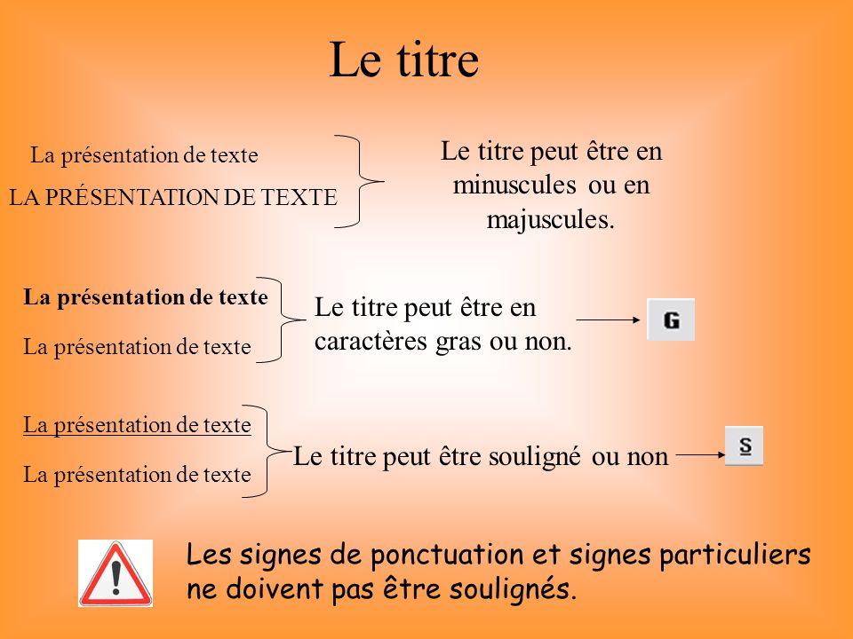 Le titre La présentation de texte LA PRÉSENTATION DE TEXTE La présentation de texte Le titre peut être en minuscules ou en majuscules. Les signes de p