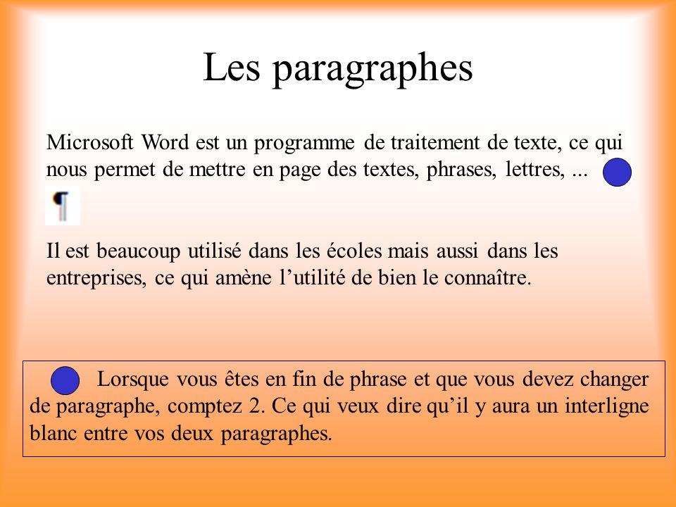 Les paragraphes Microsoft Word est un programme de traitement de texte, ce qui nous permet de mettre en page des textes, phrases, lettres,... Il est b