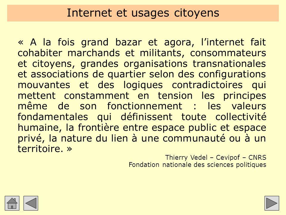 « A la fois grand bazar et agora, linternet fait cohabiter marchands et militants, consommateurs et citoyens, grandes organisations transnationales et