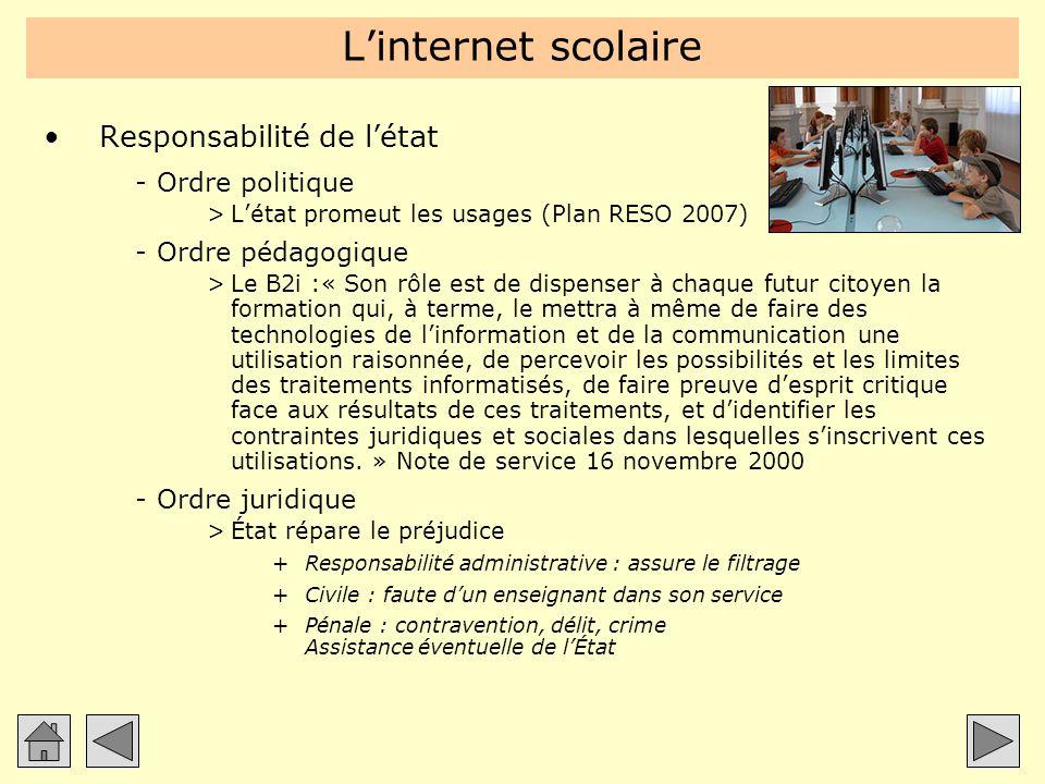 Linternet scolaire Responsabilité de létat -Ordre politique >Létat promeut les usages (Plan RESO 2007) -Ordre pédagogique >Le B2i :« Son rôle est de d