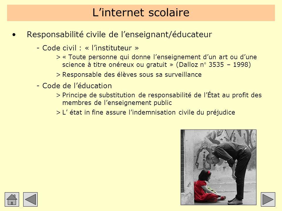 Linternet scolaire Responsabilité civile de lenseignant/éducateur -Code civil : « linstituteur » >« Toute personne qui donne lenseignement dun art ou