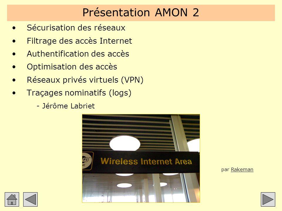 Présentation AMON 2 Sécurisation des réseaux Filtrage des accès Internet Authentification des accès Optimisation des accès Réseaux privés virtuels (VP