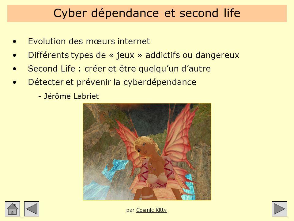 Cyber dépendance et second life Evolution des mœurs internet Différents types de « jeux » addictifs ou dangereux Second Life : créer et être quelquun