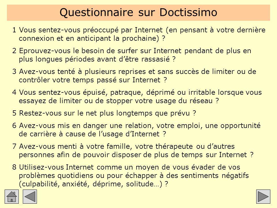 Questionnaire sur Doctissimo 1 Vous sentez-vous préoccupé par Internet (en pensant à votre dernière connexion et en anticipant la prochaine) ? 2 Eprou