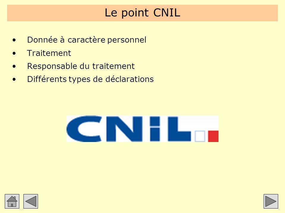 Le point CNIL Donnée à caractère personnel Traitement Responsable du traitement Différents types de déclarations