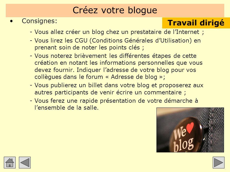 Créez votre blogue Consignes: -Vous allez créer un blog chez un prestataire de lInternet ; -Vous lirez les CGU (Conditions Générales dUtilisation) en