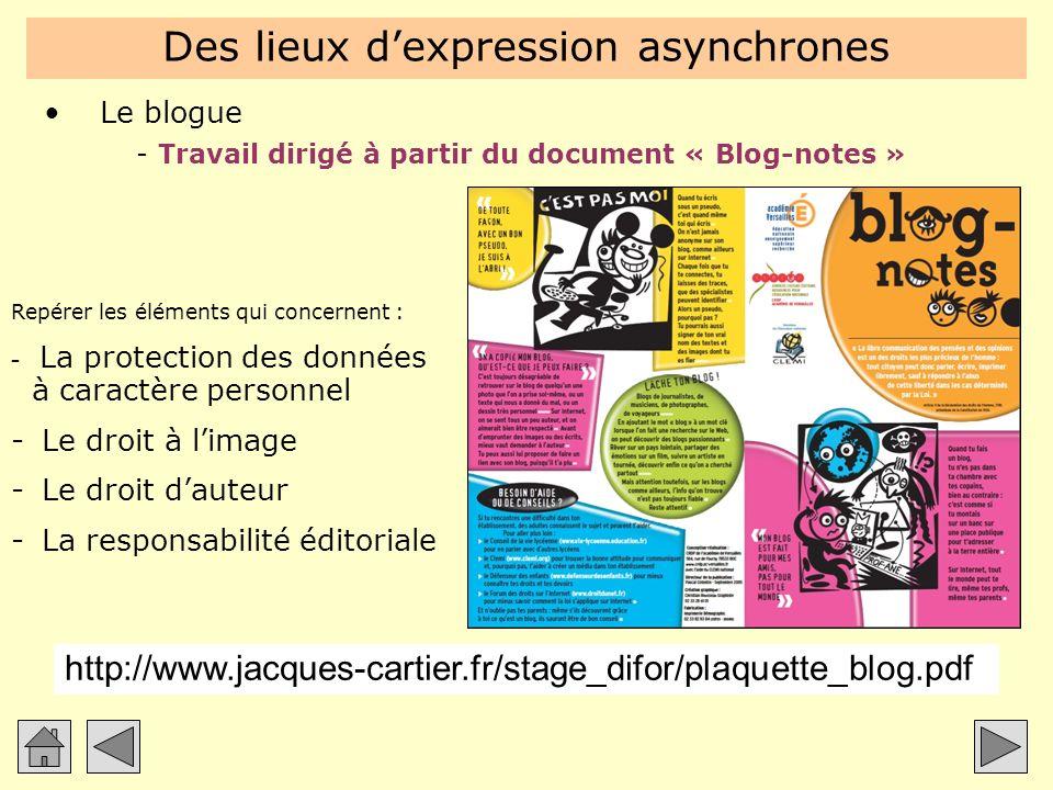 Des lieux dexpression asynchrones Le blogue -Travail dirigé à partir du document « Blog-notes » Repérer les éléments qui concernent : - La protection