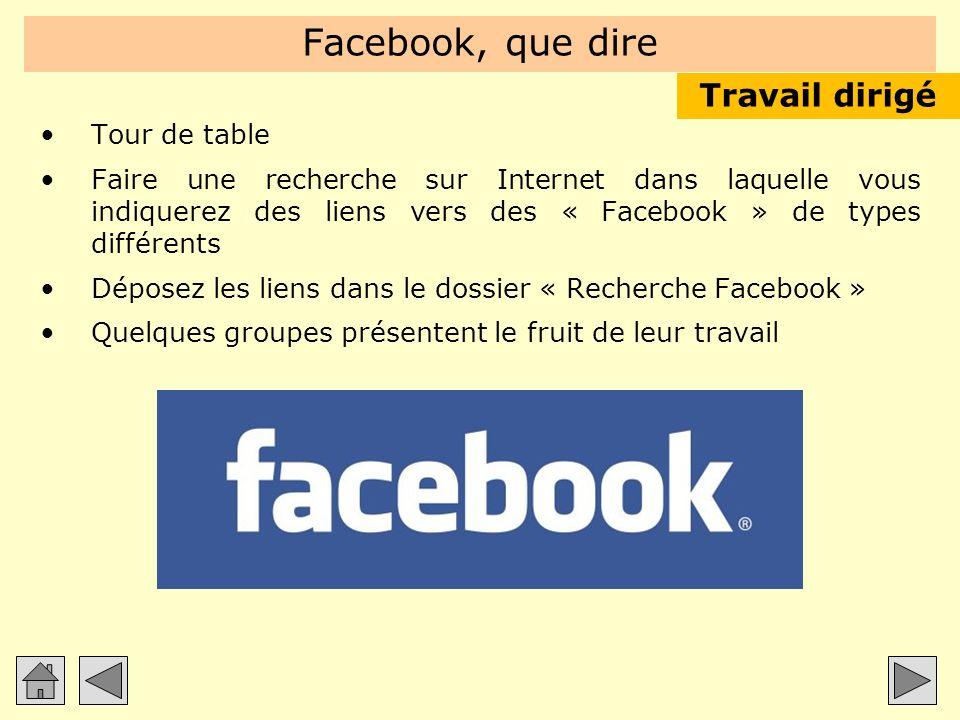 Facebook, que dire Tour de table Faire une recherche sur Internet dans laquelle vous indiquerez des liens vers des « Facebook » de types différents Dé