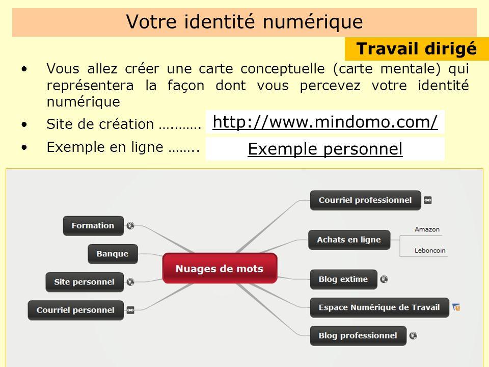 Votre identité numérique Vous allez créer une carte conceptuelle (carte mentale) qui représentera la façon dont vous percevez votre identité numérique