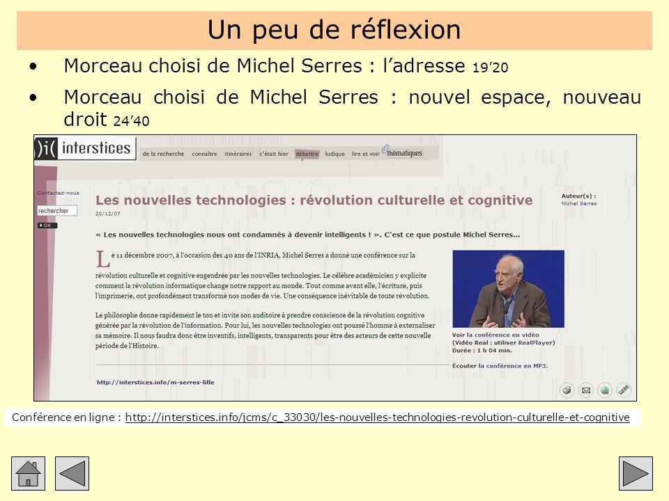 Un peu de réflexion Morceau choisi de Michel Serres : ladresse 1920 Morceau choisi de Michel Serres : nouvel espace, nouveau droit 2440 Conférence en