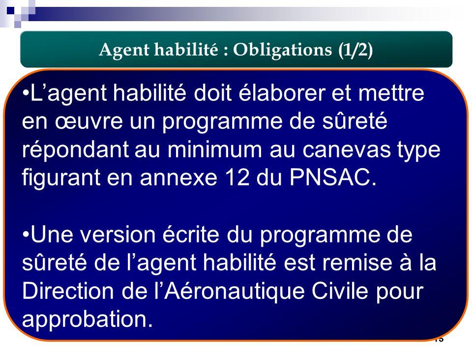 15 Lagent habilité doit élaborer et mettre en œuvre un programme de sûreté répondant au minimum au canevas type figurant en annexe 12 du PNSAC. Une ve