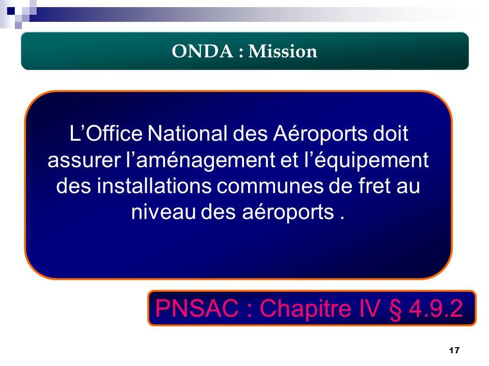 17 LOffice National des Aéroports doit assurer laménagement et léquipement des installations communes de fret au niveau des aéroports. ONDA : Mission