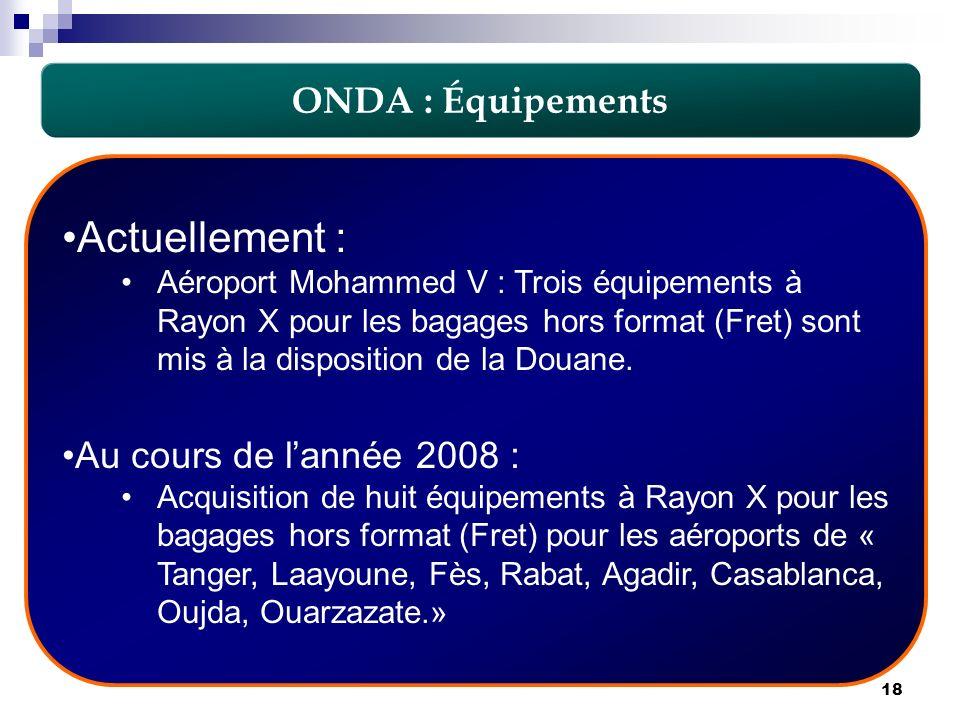 18 Actuellement : Aéroport Mohammed V : Trois équipements à Rayon X pour les bagages hors format (Fret) sont mis à la disposition de la Douane. Au cou