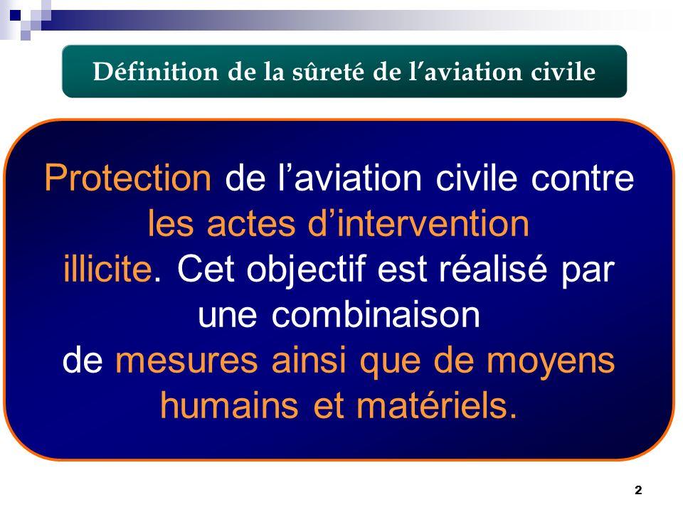 2 Définition de la sûreté de laviation civile Protection de laviation civile contre les actes dintervention illicite. Cet objectif est réalisé par une