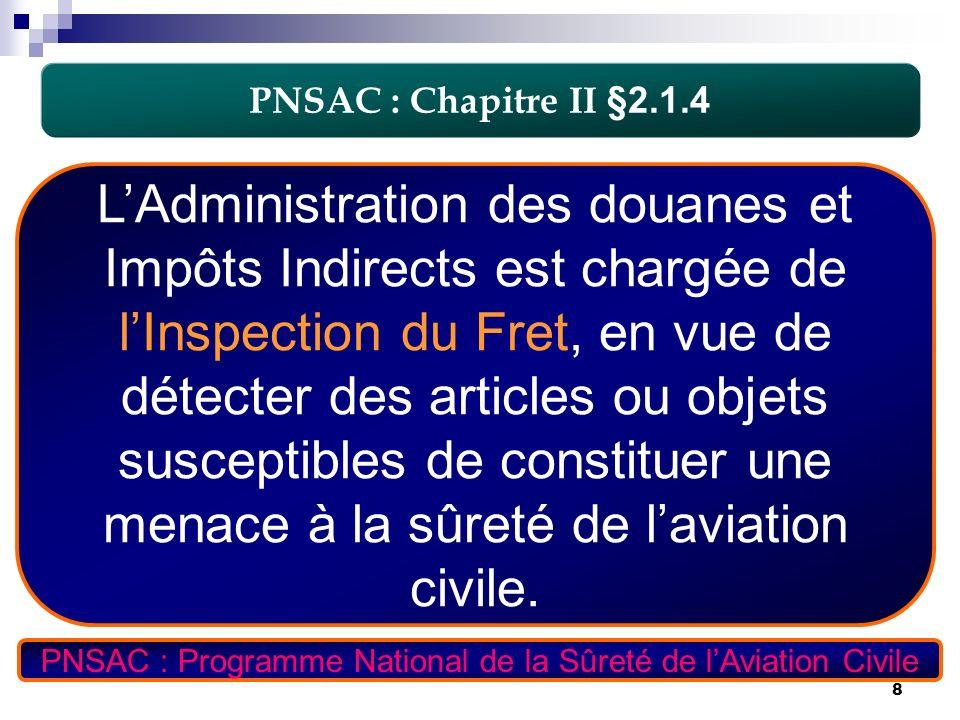 8 PNSAC : Chapitre II §2.1.4 LAdministration des douanes et Impôts Indirects est chargée de lInspection du Fret, en vue de détecter des articles ou ob