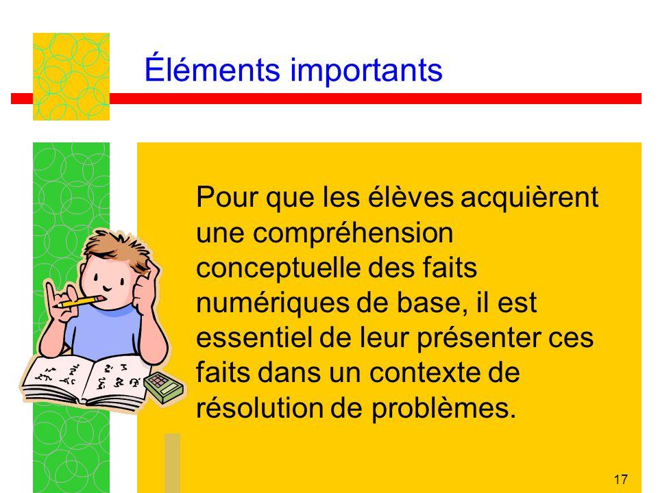 16 Éléments importants Lapprentissage des concepts relatifs aux faits numériques de base nécessite une compréhension des relations entre les nombres (