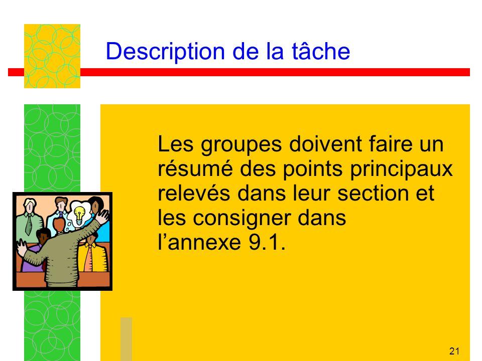 21 Description de la tâche Les groupes doivent faire un résumé des points principaux relevés dans leur section et les consigner dans lannexe 9.1.