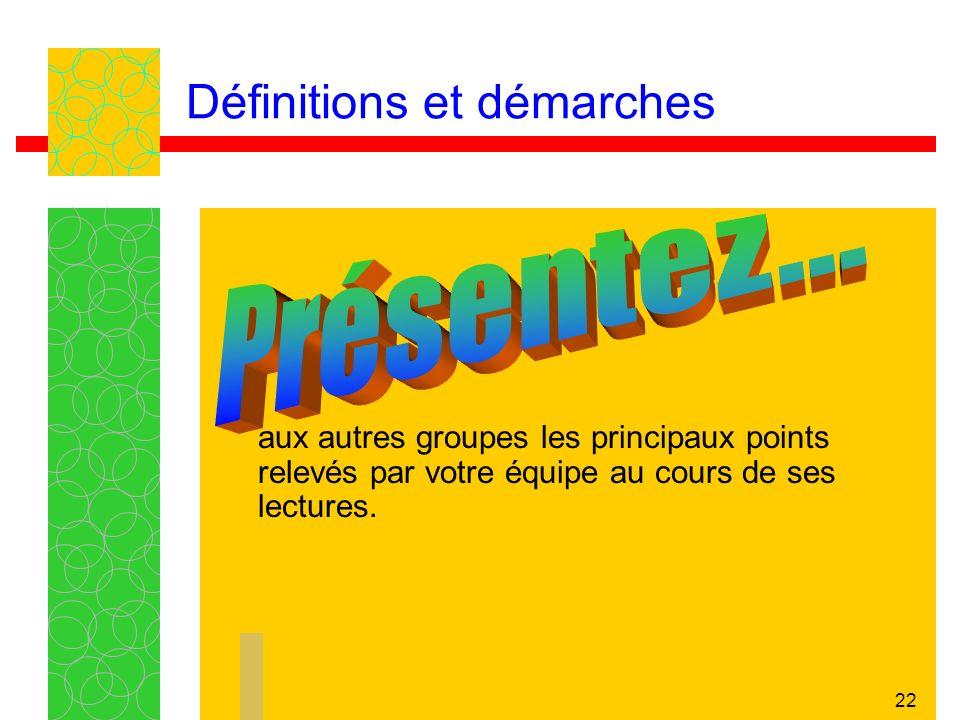 22 Définitions et démarches aux autres groupes les principaux points relevés par votre équipe au cours de ses lectures.