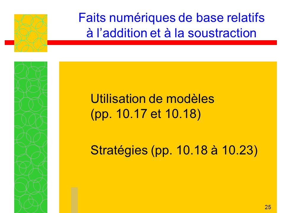 25 Faits numériques de base relatifs à laddition et à la soustraction Utilisation de modèles (pp.