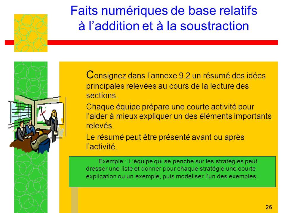 26 Faits numériques de base relatifs à laddition et à la soustraction C onsignez dans lannexe 9.2 un résumé des idées principales relevées au cours de la lecture des sections.