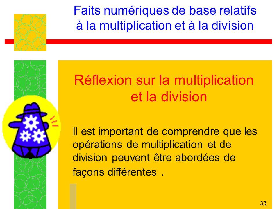 33 Faits numériques de base relatifs à la multiplication et à la division Réflexion sur la multiplication et la division Il est important de comprendre que les opérations de multiplication et de division peuvent être abordées de façons différentes.