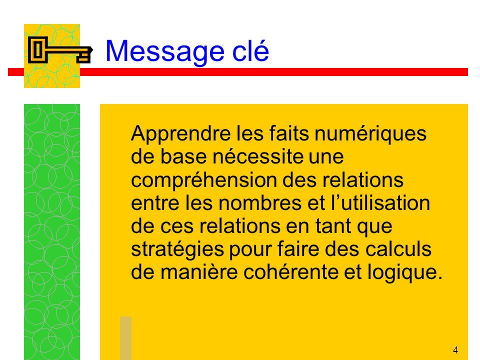 4 Message clé Apprendre les faits numériques de base nécessite une compréhension des relations entre les nombres et lutilisation de ces relations en tant que stratégies pour faire des calculs de manière cohérente et logique.