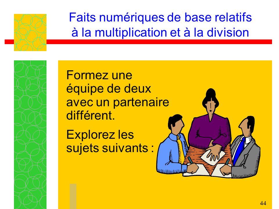 43 Faits numériques de base relatifs à la multiplication et à la division Voici quelques propriétés et stratégies qui favorisent la compréhension conc